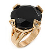 Statement Black CZ Crystal Round Wide Band Cocktail Ring In Gold Plating - 20mm Diameter - Size 7