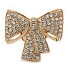 Statement Pave-Set Swarovski Crystal &#039;Bow&#039; Flex Ring In Gold Plating - 47mm Across - Size 7/8