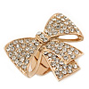 Statement Pave-Set Swarovski Crystal 'Bow' Flex Ring In Gold Plating - 47mm Across - Size 7/8