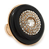 Large Black Enamel, Diamante 'Button' Flex Ring In Gold Plating - 35mm Diameter - Size 7/8