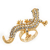Gold Plated Sculptured Swarovski Crystal 'Gecko' Statement Ring - Adjustable - Size 7/8 - 4.5cm Length