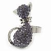 Rhodium Plated Violet Swarovski Crystal 'Kittie' Ring - 35mm Length - Adjustable - Size 7/8