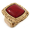 Burgundy Red Resin Stone Square Ring In Gold Plating - Flex - 32mm Width - Size 8/9