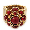 Vintage Burgundy Red Glass Stone, Crystal Floral Flex Ring In Burn Gold Finish - 20mm Diameter - Size 8/9