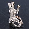 Gold Plated Sculptured Swarovski Crystal 'Cat' Statement Ring - Size 8 - 4cm Length