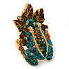 Sculptured Multi-tone Swarovski Crystal 'Frog on a Leaf' Ring - 4cm Length (Size 7/8)