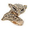 Gold Plated Swarovski Crystal Elements Fox Ring - Size 8