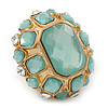 Statement Pale Blue/ Clear Glass Bead Dome Shaped Cocktail Flex Ring In Brushed Gold - 40mm Across - Size 7/8