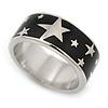 Black Enamel 'Stars' Band Ring In Rhodium Plaiting - Size 8