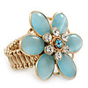 Statement Light Blue Glass Bead, Crystal Flower Flex Ring In Gold Plating - 40mm Across - Size7/8