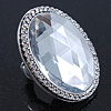 Statement Clear Glass Oval Flex Ring In Silver Tone - 48mm Across - Size7/8