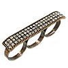 Vintage Pave-Set &#039;Plate&#039; Three Finger Ring In Burn Gold Metal - Adjustable - 60mm Width