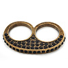 Vintage Pave-Set Diamante 'Knuckles' Double Finger Ring In Burn Gold Metal - 45mm Width - Size 7/