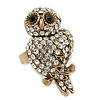 Vintage Style Swarovski Crystal &#039;Wise Owl&#039; Cocktail Ring - Burn Gold - Adjustable