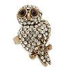 Vintage Style Swarovski Crystal 'Wise Owl' Cocktail Ring in Burnt Gold - Adjustable