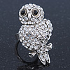 Vintage Style Swarovski Crystal &#039;Wise Owl&#039; Cocktail Ring - Burn Silver - Adjustable