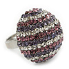 Rhodium Plated Swarovski Crystal &#039;Violetta&#039; Dome Cocktail Ring - 25mm Diameter - Adjustable