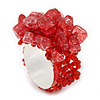 Red Semiprecious Chip Cluster Flex Ring