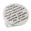Silver Tone Audrey Hepburn Quote Round Medallion Statement Ring, 30mm across