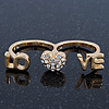 Gold Plated Double Finger Diamante 'Love & Heart' Ring - Size 7&8