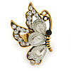 Clear Crystal Butterfly Ring In Antique Gold Metal - Adjustable - Size 7/8