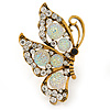 Large Clear & AB Crystal Butterfly Ring In Antique Gold Metal - Adjustable - Size 7/8
