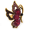 Purple Crystal Butterfly Ring In Antique Gold Metal - Adjustable - Size 7/8