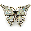 Large Clear Crystal Butterfly Ring In Antique Gold Metal - Adjustable - Size 7/8