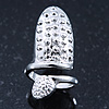 Rhodium Plated Textured Snake Nail Ring