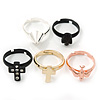 Set Of 5 Knuckle Rings (Gold Cross, Rose Gold Swallow, Crystal Black Cross, Silver Spike, Black Skull Knuckle Rings)