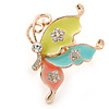 Multicoloured Enamel Crystal Butterfly Ring In Gold Tone Metal - Adjustable - Size 7/8