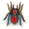 Oversized Multicoloured Crystal Spider Stretch Cocktail Ring (Silver Tone) - Adjustable - Size 7/9