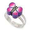 Children's/ Teen's / Kid's Purple Fimo Butterfly Ring In Silver Tone - Adjustable