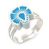 Children's/ Teen's / Kid's Light Blue/ White Fimo Flower Ring In Silver Tone - Adjustable