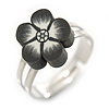 Children's/ Teen's / Kid's Black Fimo Flower Ring In Silver Tone - Adjustable