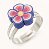 Children's/ Teen's / Kid's Purple, Pink Fimo Flower Ring In Silver Tone - Adjustable