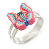 Children's/ Teen's / Kid's Pink, Blue Fimo Butterfly Ring In Silver Tone - Adjustable