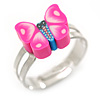Children's/ Teen's / Kid's Deep Pink Fimo Butterfly Ring In Silver Tone - Adjustable