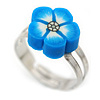 Children's/ Teen's / Kid's Blue Fimo Flower Ring In Silver Tone - Adjustable