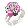 Children's/ Teen's / Kid's Pink, Purple Fimo Flower Ring In Silver Tone - Adjustable