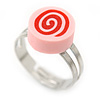 Children's/ Teen's / Kid's Deep Pink Fimo Candy Ring In Silver Tone - Adjustable
