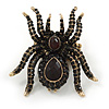 Oversized Black Crystal Spider Stretch Cocktail Ring (Antique Gold Tone) - Adjustable - Size 7/9