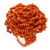 Orange Glass Bead Flower Stretch Ring - 40mm Diameter