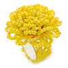 Yellow Glass Bead Flower Stretch Ring - 40mm Diameter