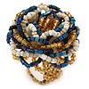 White/ Light Brown/ Chameleon Blue Glass Bead Flower Stretch Ring