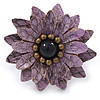Lavender Leather Layered With Glass Bead Daisy Flower Wire Band Ring - Adjustable - 40mm D