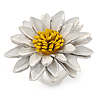 White/ Yellow Leather Layered Daisy Flower Ring - 40mm D - Adjustable