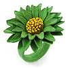 Grass Green/ Yellow Leather Layered Daisy Flower Ring - 40mm D - Adjustable