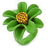 Grass Green/ Yellow Leather Daisy Flower Ring - 35mm D - Adjustable