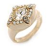Stunning Clear/ Milky White Crystal Light Cream Enamel Ring